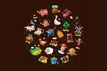Farm & Agriculture Icons Composition