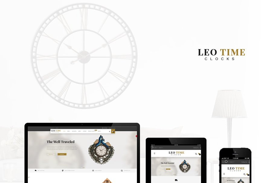 LEO TIME - CLOCK AND HOME DECOR ~ Bootstrap Themes ~ Creative Market