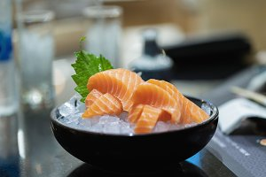Salmon sliced meat
