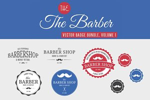 Barber Badge/Logo Bundle, Vol 1