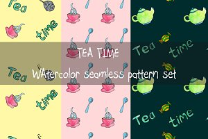 Tea Time Watercolor Seamless Pattern