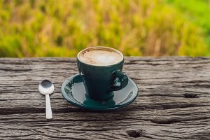 A cup of coffee on the background of