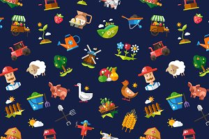 Farm & Agriculture Icons Pattern