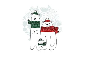 Christmas card with white santa