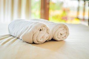 beautiful room in villa, towel on