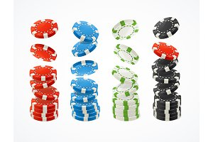 3d Poker Chips Stack Set. Vector