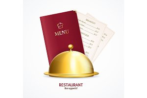 3d Restaurant Menu Concept. Vector