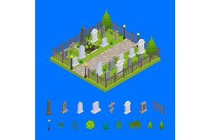 Cemetery Concept 3d Isometric View.