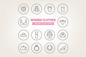 Circle women clothes icons