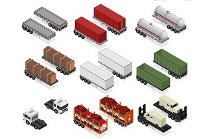 Different Types Trailers 3d Set