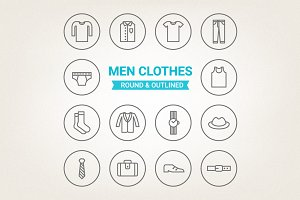 Circle men clothes icons
