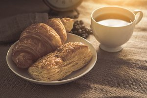 Bread, croissants and coffee