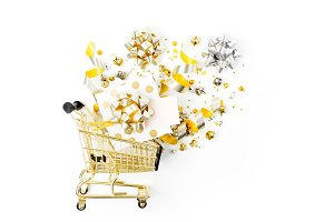 Gifts in a shopping cart