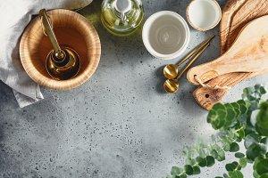 Kitchen utensils on a table
