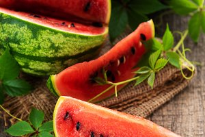 Watermelon with green leaves