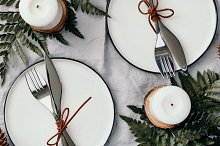 Top view on festive table settings by  in Food & Drink
