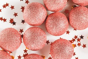 Glitter ball Christmas ornament pink
