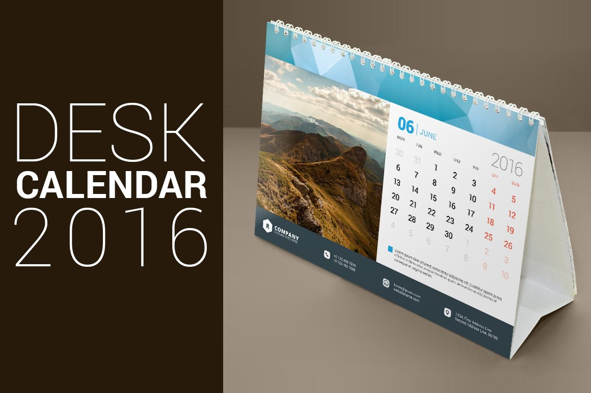 Table Calendar 2016 : Desk calendar stationery templates creative market