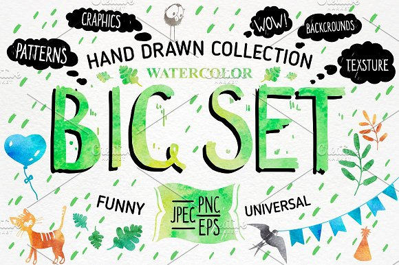 BIG SET! Watercolor collection