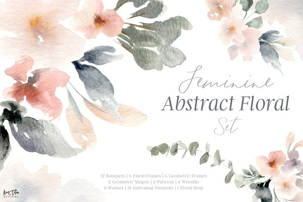 Feminine Abstract Floral Set