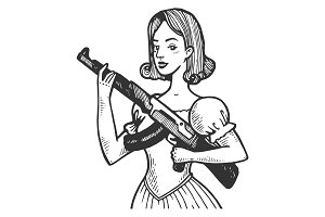 Woman with automatic gun vector