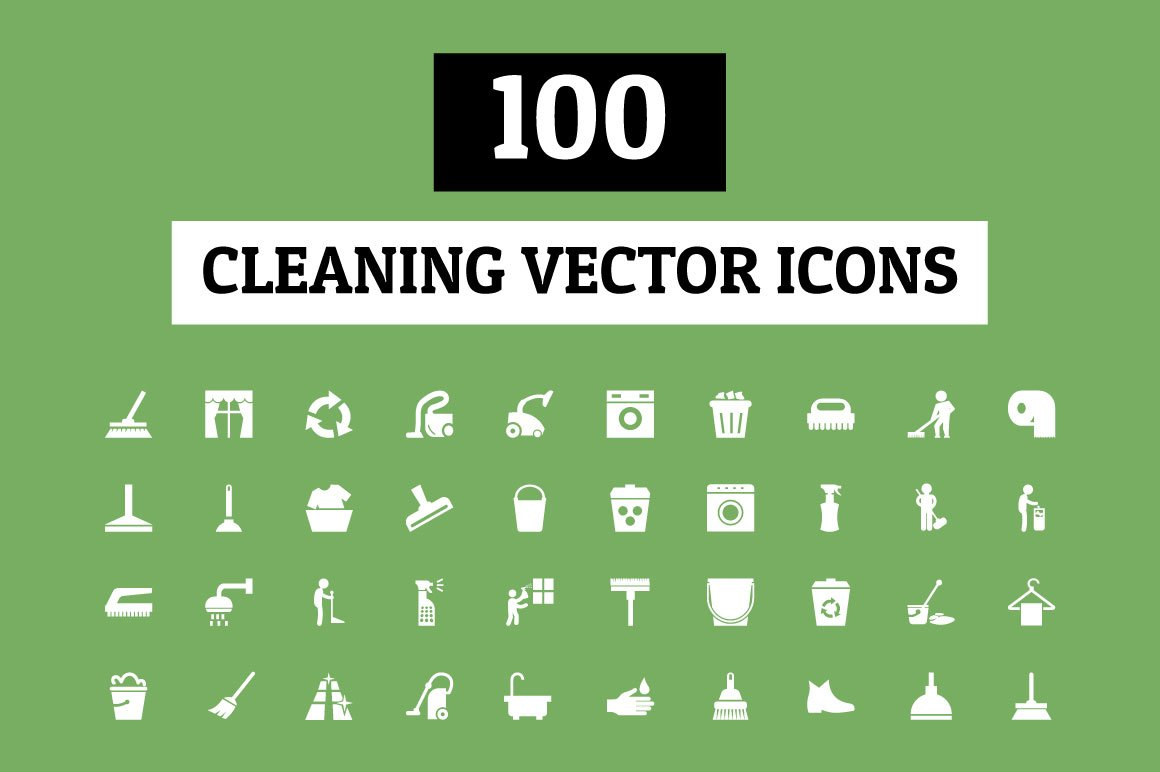 100 Cleaning Vector Icons