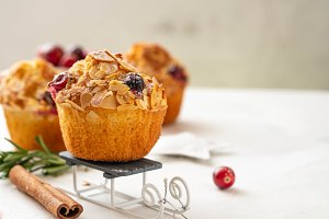 Christmas homemade cranberry muffins