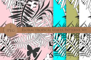 Floral tropical leaves patterns set