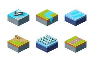 Elements of natural landscape set