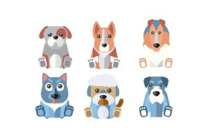 Dogs of different breeds set, cute
