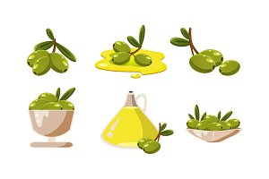 Fresh green olives and oil set