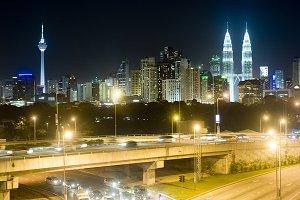 Night panorama of Kuala Lumpur