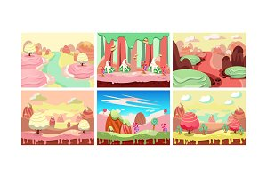 Sweet fantasy landscape set, candy