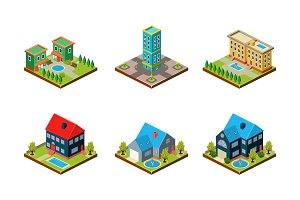 City buildings set, urban landscape