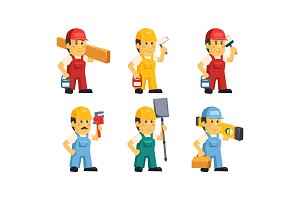 Builder workers in overalls with