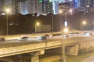 Night traffic. Kuala Lumpur, Malaysi