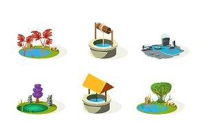 Lake, pond, well, fantasy elements