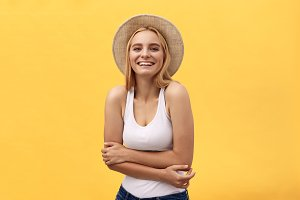 Happy cheerful young woman wearing