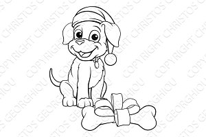 Pet Dog in Christmas Santa Claus Hat