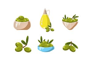 Green olives and oil set, healthy