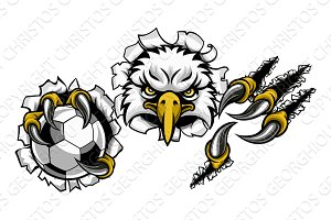 Eagle Soccer Cartoon Mascot Ripping