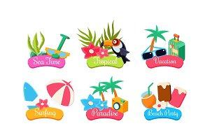 Summer travel logo template set