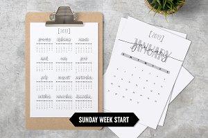 Calendar 2019 A4 Minimalistic Sunday