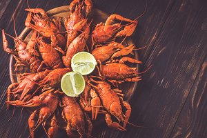 Boiled crayfish: top view