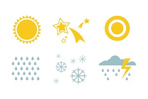 Weather and nature symbols set, sun