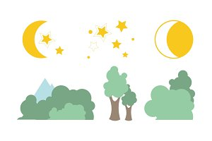 Summer trees, moon and stars