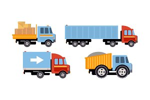 Trucks set, delivery vehicles, side