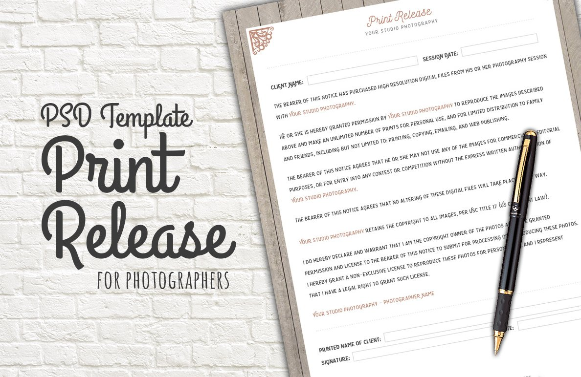 Photo Print Release Form Template Templates on Creative Market – Print Release Form