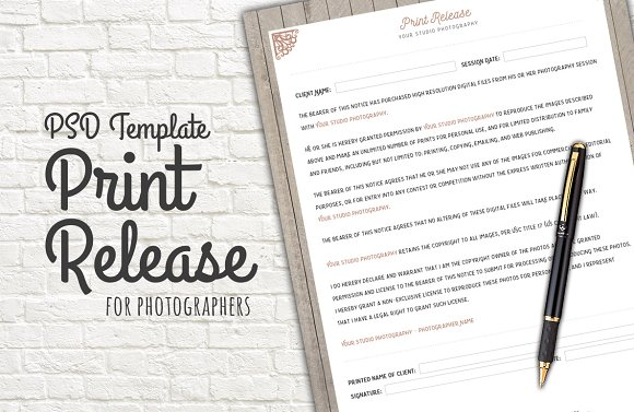 Photo Print Release Form Template Templates Creative Market