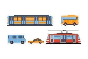 Subway, bus, tram, taxi, public